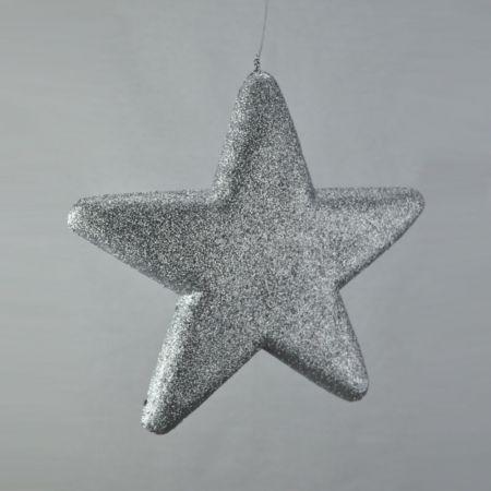 Διακοσμητικό χριστουγεννιάτικο αστέρι Glitter Ασημί 25cm