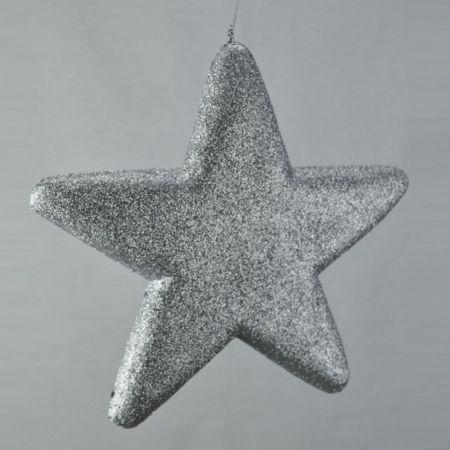 Διακοσμητικό χριστουγεννιάτικο αστέρι, Ασημί, 40cm