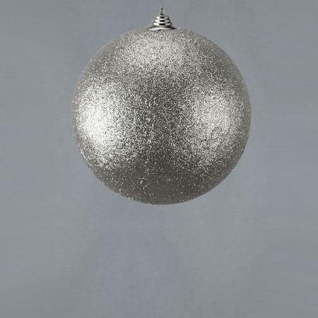 XL Διακοσμητική χριστουγεννιάτικη μπάλα Glitter Ασημί 18cm