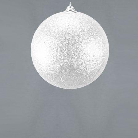 XL Διακοσμητική χριστουγεννιάτικη μπάλα Glitter Λευκή 18cm