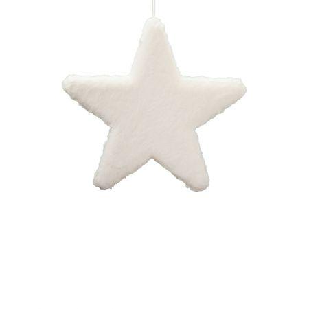 Κρεμαστό χριστουγεννιάτικο γούνινο αστέρι Λευκό 40cm