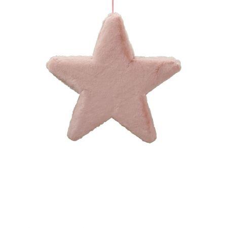 Κρεμαστό χριστουγεννιάτικο γούνινο αστέρι Ροζ 40cm