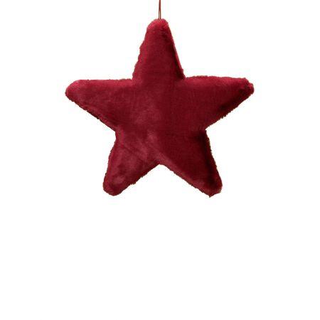 Κρεμαστό χριστουγεννιάτικο γούνινο αστέρι Κόκκινο σκούρο 40cm