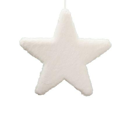 Κρεμαστό χριστουγεννιάτικο γούνινο αστέρι Λευκό 50cm