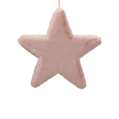 Κρεμαστό χριστουγεννιάτικο γούνινο αστέρι Ροζ 50cm