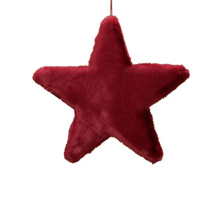 Κρεμαστό χριστουγεννιάτικο γούνινο αστέρι Κόκκινο σκούρο 50cm