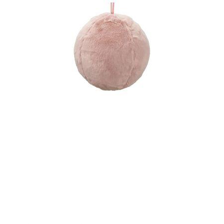Κρεμαστή χριστουγεννιάτικη γούνινη μπάλα Ροζ 20cm