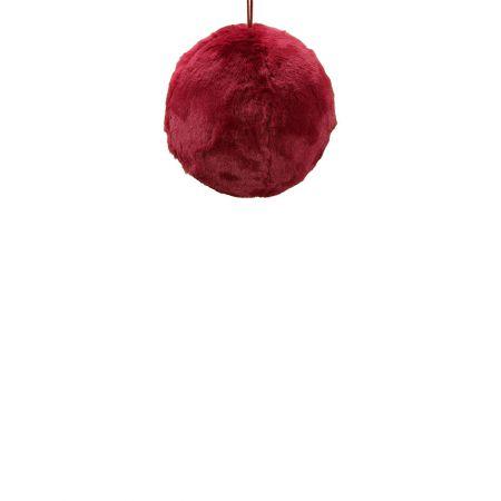 Κρεμαστή χριστουγεννιάτικη γούνινη μπάλα Κόκκινο σκούρο 20cm