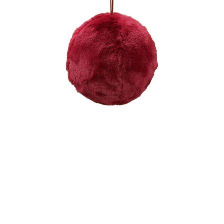 Κρεμαστή χριστουγεννιάτικη γούνινη μπάλα Κόκκινο σκούρο 25cm