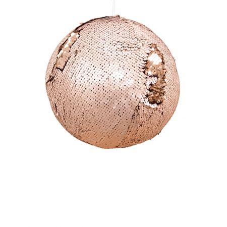 Κρεμαστή χριστουγεννιάτικη μπάλα με παγιέτες Χρυσό - Σαμπανί 15cm