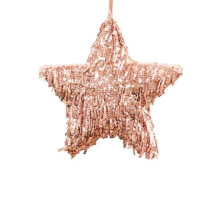Κρεμαστό χριστουγεννιάτικο αστέρι με κρόσια - παγιέτες Ροζ 25cm