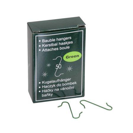 Σετ 50τχ Γατζάκια για μπάλες και στολίδια Χριστουγεννιάτικου δέντρου Πράσινα 33mm