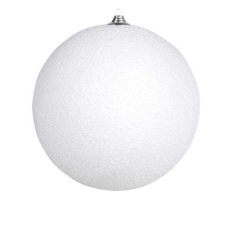 Κρεμαστή χιονόμπαλα Λευκή χιονισμένη 18cm