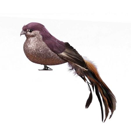 Διακοσμητικό πουλάκι με μακριά ουρά και κλιπ Χάλκινο - Καφέ 24cm