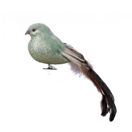 Διακοσμητικό πουλάκι με μακριά ουρά και κλιπ Πράσινο - Καφέ 24cm