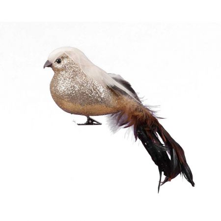 Διακοσμητικό πουλάκι με μακριά ουρά Χρυσό - Καφέ 24cm