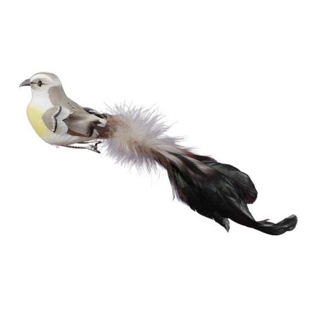 Διακοσμητικό πουλάκι με μακριά ουρά Γκρι 21cm