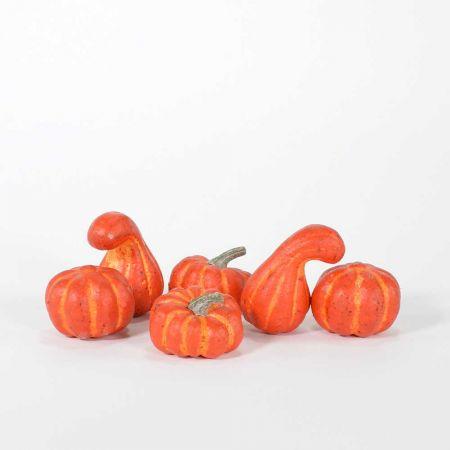 Σετ 6τχ mini κολοκύθες Πορτοκαλί 6-8cm