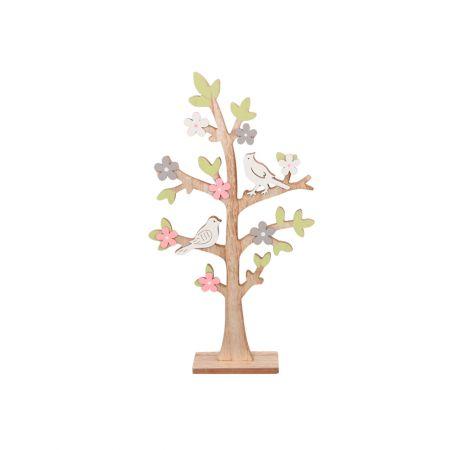 Δέντρο Ξύλινο με ανθάκια και πουλάκια , 21χ40.5cm