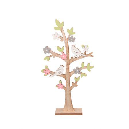 Δέντρο-Ξύλινο με ανθάκια και πουλάκια , 29χ55.5cm