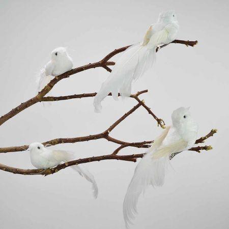 Σετ 4τχ Διακοσμητικό Πουλάκι με κλιπ Λευκό 12cm