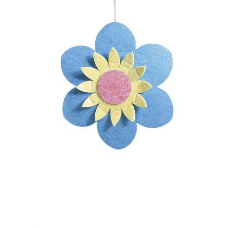 Διακοσμητικό κρεμαστό άνθος, μπλε 75cm