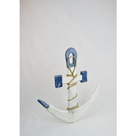 Διακοσμητική ξύλινη άγκυρα Λευκό - Μπλε 50cm