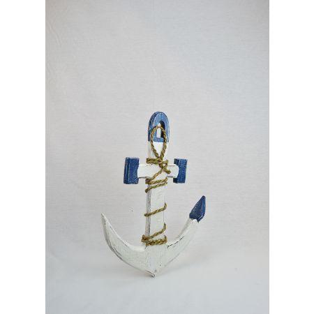 Διακοσμητική ξύλινη άγκυρα Λευκή - Μπλε 40cm