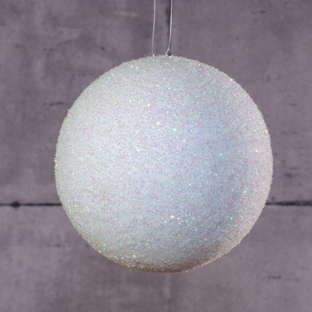 Χριστουγεννιάτικη κρεμαστή χιονόμπαλα Λευκή με glitter 12cm