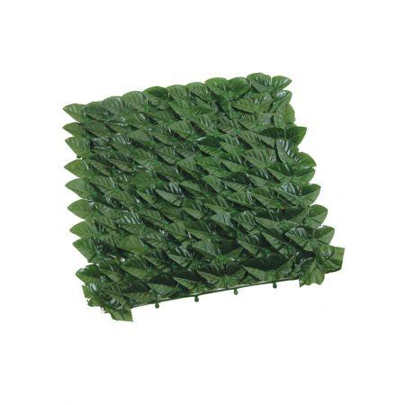 Διακοσμητικός φράχτης PVC με σκούρα πράσινα φύλλα 100x300cm