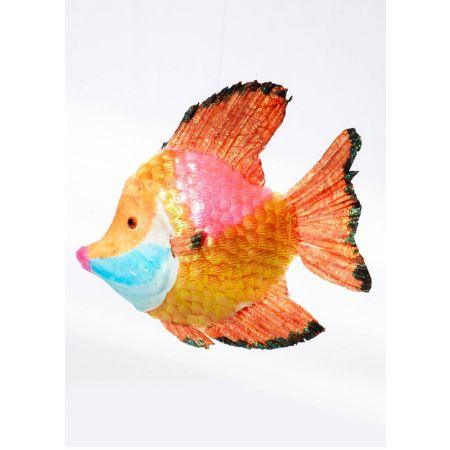 Διακοσμητικό γυαλιστερό τροπικό ψάρι, Πορτοκαλί 26x26x6 cm