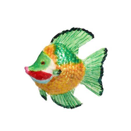Διακοσμητικό γυαλιστερό τροπικό ψάρι, Πράσινο 26x26x6 cm