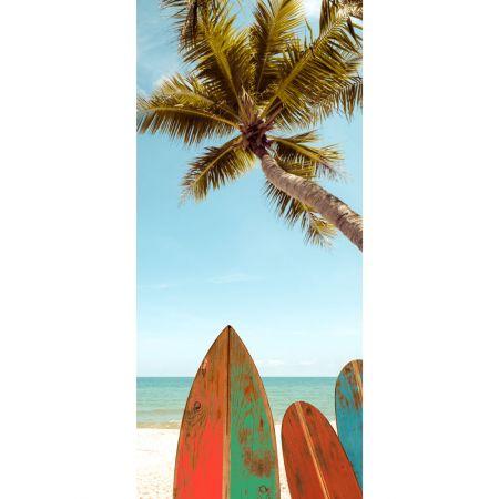 Διακοσμητική καλοκαιρινή αφίσα με φοίνικα και surf 90x200 cm