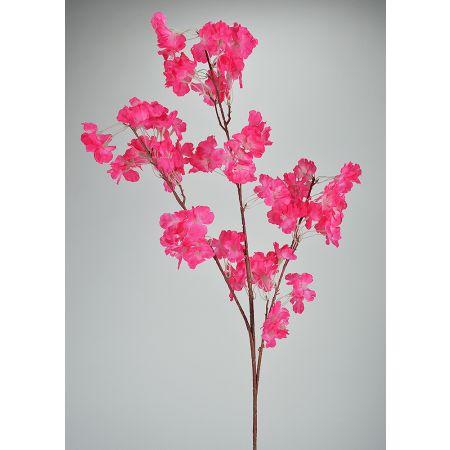 Διακοσμητικό κλαδί με άνθη αμυγδαλιάς Φούξια 108cm