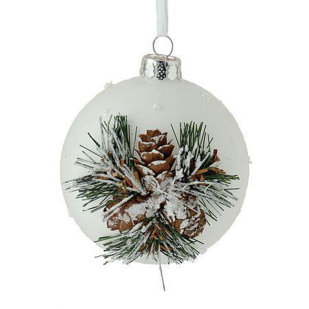 Χριστουγεννιάτικη μπάλα γυάλινη Λευκή 10cm