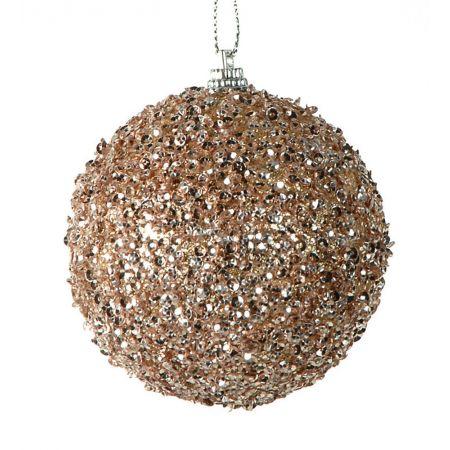 Διακοσμητική μπάλα Χριστουγέννων Σαμπανί 10cm