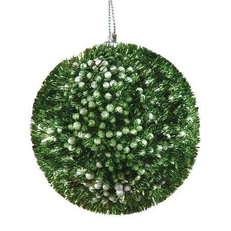 Χριστουγεννιάτικη μπαλα χνουδωτή Πράσινη 8cm