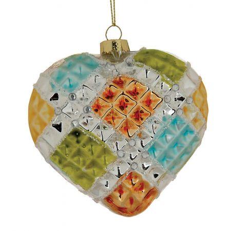 Κρεμαστό στολίδι-Καρδιά γυάλινη 5x9cm