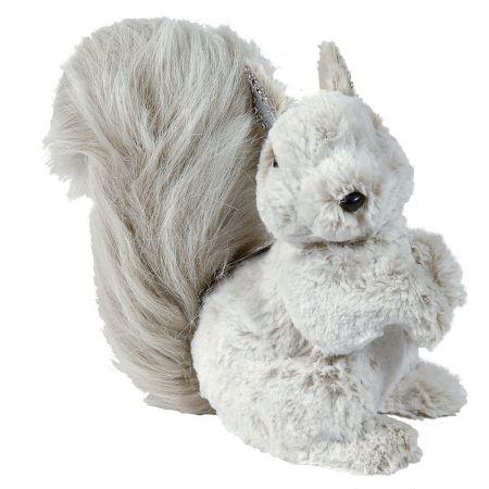 Διακοσμητικός λούτρινος σκίουρος λευκός 25 cm