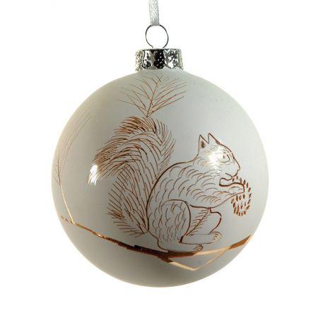 Χριστουγεννιάτικη μπάλα γυάλινη με σκίουρος Λευκή 8cm