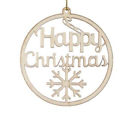 Στολίδι στρογγυλό -HAPPY CHRISTMAS καφέ , 8cm