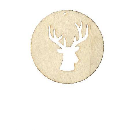 Χριστουγεννιάτικο Ξύλινο στολίδι ροδέλα με Τάρανδο , 8x8cm