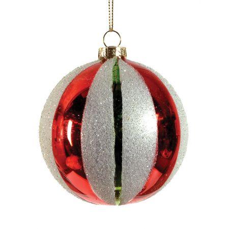 Χριστουγεννιάτικη μπάλα γυάλινη Κόκκινη 8cm