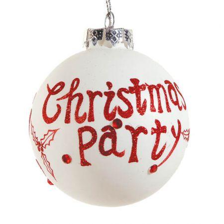 Χριστουγεννιάτικη μπάλα γυάλινη Kόκκινη-Λευκή 10cm