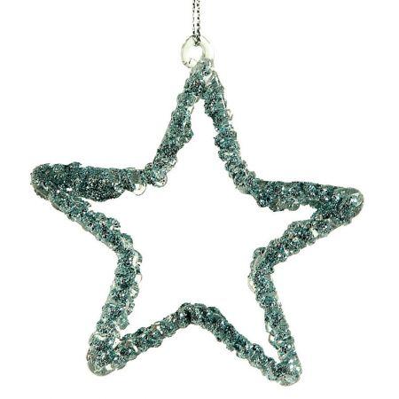 Διακοσμητικό κρεμαστό αστέρι Χριστουγέννων Γαλάζιο 8cm