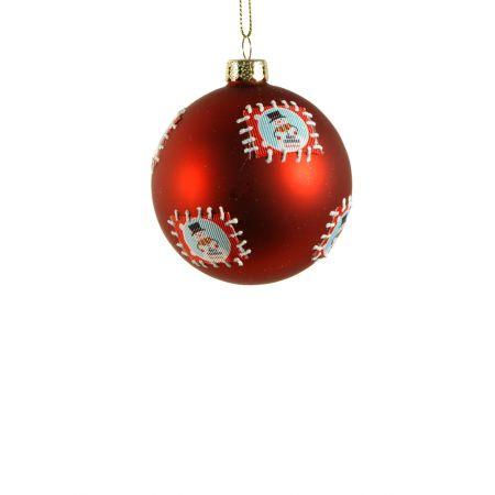 Χριστουγεννιάτικη μπάλα γυάλινη με Χιονάνθρωπο Κόκκινη 8cm