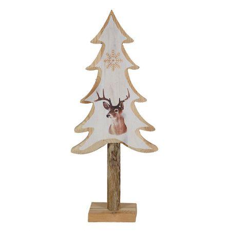 Διακοσμητικό επιτραπέζιο ξύλινο δεντράκι με ζωγραφιά τάρανδο Μπεζ 40x17cm