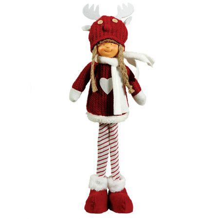 Χριστουγεννιάτικο διακοσμητικό λούτρινο κοριτσάκι κόκκινο 17x12x53cm