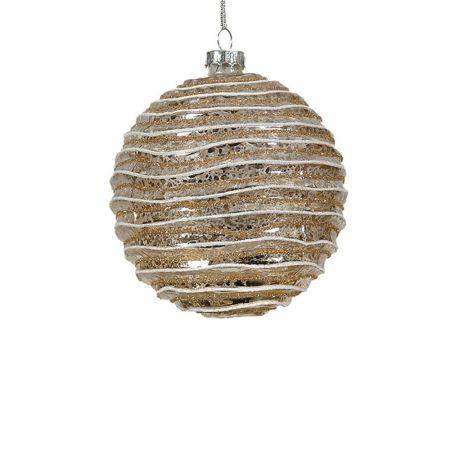 Χριστουγεννιάτικη μπάλα γυάλινη Σαμπανί 10cm