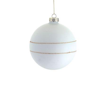 Χριστουγεννιάτικη μπάλα γυάλινη Λευκή-Χρυσή 8cm